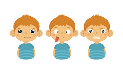 Flat vector set of cute little boy with various facial expressions. Crying kid, tongue out and angry emotion © topvectors