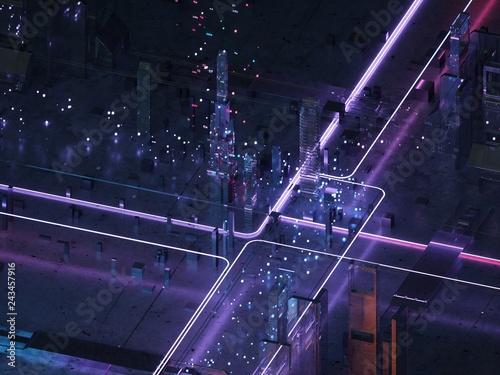 Neon light Futuristic city isometric view - 243457916
