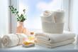 Leinwandbild Motiv Bathroom towels and soap empty space background,shower items.