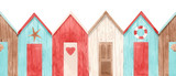 Watercolor house pattern - 243460913