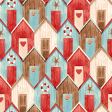 Watercolor house pattern - 243460999