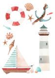 Watercolor marine frame - 243461329