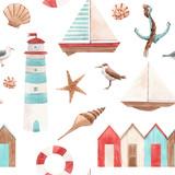 Watercolor marine pattern - 243461359
