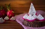 Dragon Fruit On old Wooden Table. - 243462948