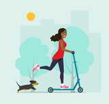 Happy afro american  young woman rides on a scooter and dog. Vector flat style  illustration