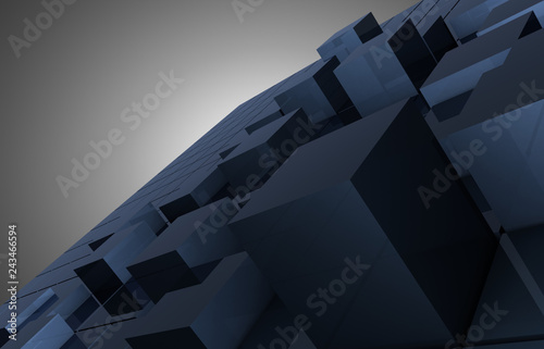 abstract cubes blocks background. 3d illustration