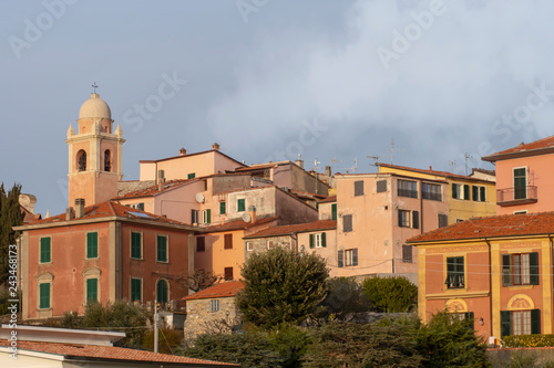 Montemarcello view, Liguria, Italy. In the Val di Magra, La Spezia province. Pictureque village. Photo Jan 2019.