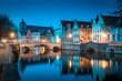 Leinwanddruck Bild - Historic city of Brugge at twilight, Flanders region, Belgium