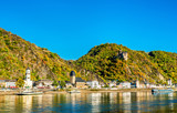 Katz Castle above Sankt Goarshausen town in the Rhine Gorge, Germany - 243469765
