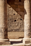Aswan Philae Temple columns carved with hieroglyphs in Egypt Afrtica