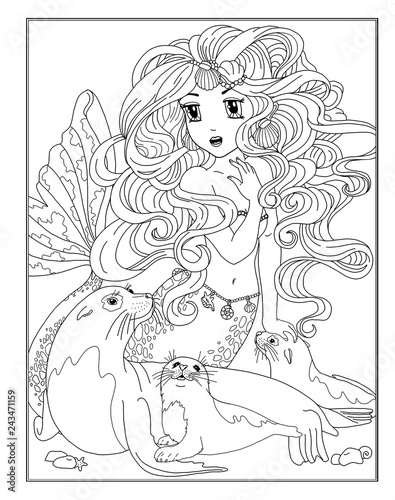 Coloring page the Mermaid - 243471159