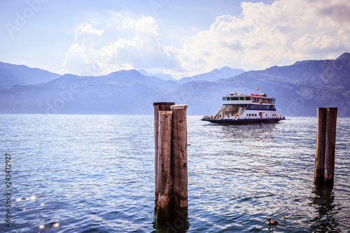 Fridge magnet Car ferry on an Italian lake
