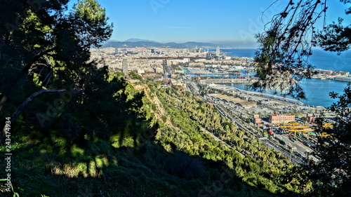 Sticker Beautiful panoramas of European cities. Barcelona, Spain