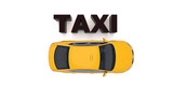 Taxi car top down view. For taxi service app, transport company ad, infographics - 243475137