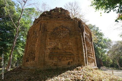 Kampong Thom, Cambodia-January 12, 2019: A ruined temple at Prasat Yeah Puon in Sambor Prei Kuk in Cambodia
