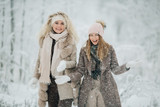 Photo of two blondes throwing snow on walk in winter forest - 243478737