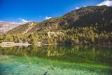Emerald Lake Mricho Tal near Pisang. Himalaya mountains. Nepal, Annapurna circuit trek - 243480199