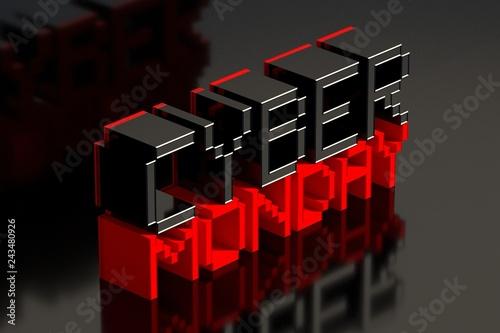 Cyber Monday on black reflected background. 3D illustration.