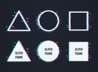 Vector set of frames with glitch effect. Circle, triangle, rhombus and square with vhs glitch effect.
