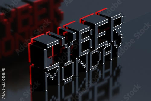 Cyber Monday on black reflected background. 3D illustration.