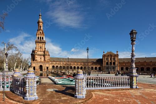 Leinwanddruck Bild Plaza de España, Sevilla, Spain