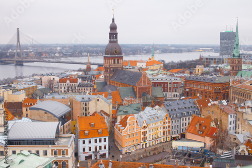 mata magnetyczna Beautiful aerial view of the old town Riga. View of the roofs of the old town from above. Winter season in Riga, Latvia
