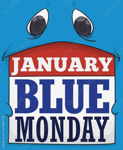 Sad Blue Monster Holding a Loose-leaf Calendar for Blue Monday, Vector Illustration