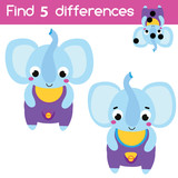 Find the differences educational children game. Kids activity with cartoon elephant