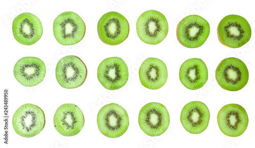 Top view of sliced kiwi on white background .