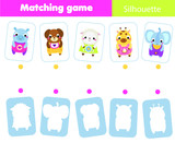 Educational children game. Match animals with silhouette. Fun page for toddlers. Study shapes and shadows