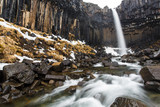 Long exposure of Svartifoss waterfall in Skaftafell national park