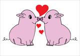 Cerditos enamorados. Concepto día de  San Valentín.