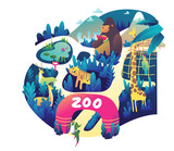 Zoo colorful illustration in vector - 243507935