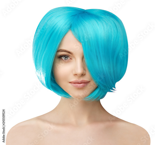 Girl with blue hair. Model with colored haircut. Woman with voluminous updo hairstyle
