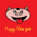 Hand illustration of yellow happy new year+pig face on red background. Poster, card, clothes, bags, banner, postcard.