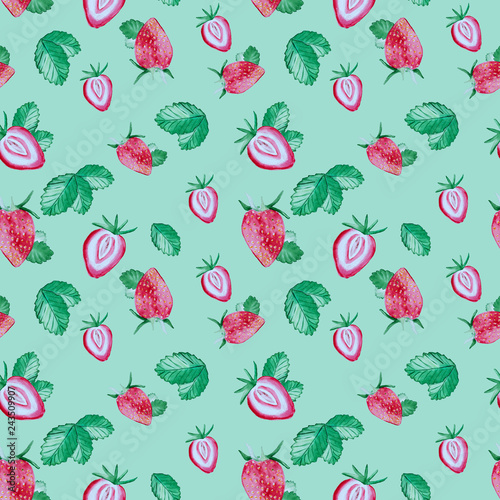 pattern with strawberry and green leaves