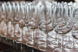 Empty wine glasses on a table - 243515770