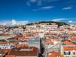 View over the city and the Castelo de São Jorge, Baixa, Lisbon, Portugal
