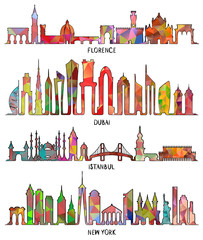 Florence, Dubai, New York and Istanbul skyline