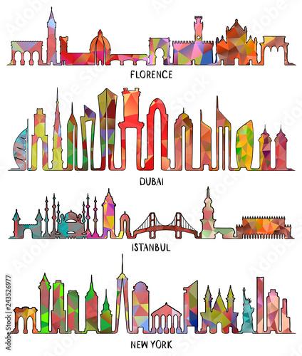 Florence, Dubai, New York and Istanbul skyline - 243526977