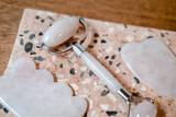 Rose quartz facial roller and gua sha beauty firming tools - 243527986