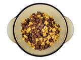 Brown bowl with breakfast cereals in form stars on white - 243535982