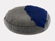 Gray round pouf with a plaid on a white background 3d rendering