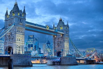 tower bridge in london at night © Iliya Mitskavets