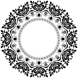 Elegant black and white ornament in classic style. Abstract traditional pattern with oriental elements. Classic vintage pattern - 243542990