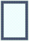 Rectangular ornate framework. Decorative ornament in Arabic style. Tiles, arabesque. Swatch is included in EPS file. A3, A4 print paper size.