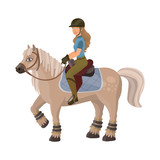 Vector design of horseback and equestrian logo. Collection of horseback and horse  stock symbol for web.