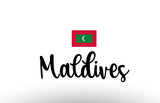 Maldives country big text with flag inside map concept logo - 243555560
