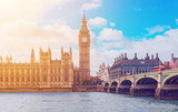 Fototapeta Londyn - The Big Ben, the Houses of Parliament and Westminster Bridge in London © patruflo