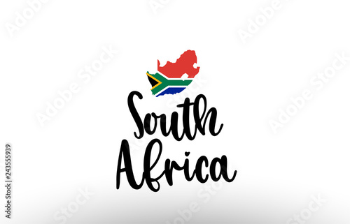 South Africa country big text with flag inside map concept logo